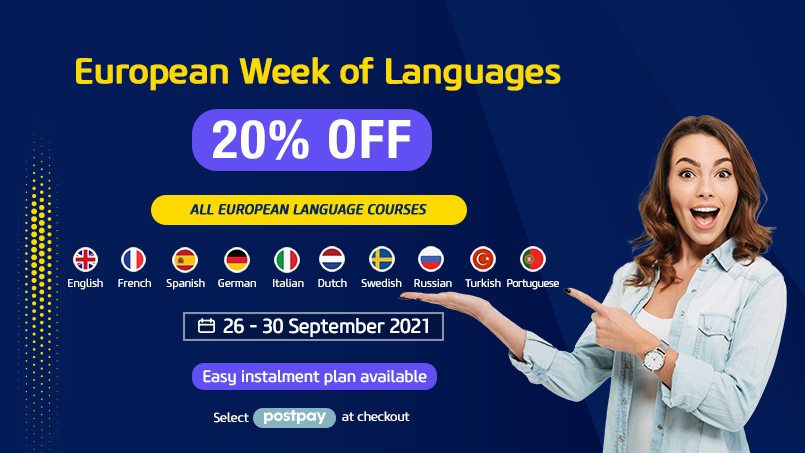 Enjoy 20% off all European language courses from Sep 26-30, 2021